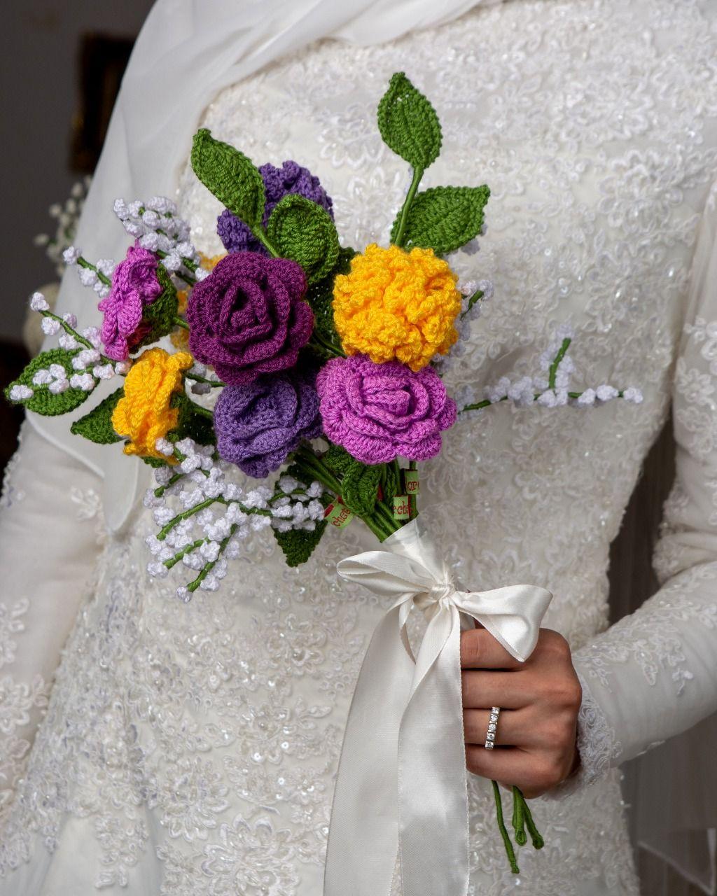 Yellow & Purple bridal bouquet